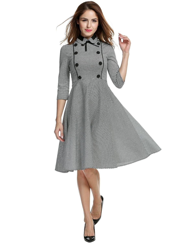 ANGVNS Women's Elegant Vintage 1940's 3/4 Sleeve Large Swing Official Plaid Slim Dress
