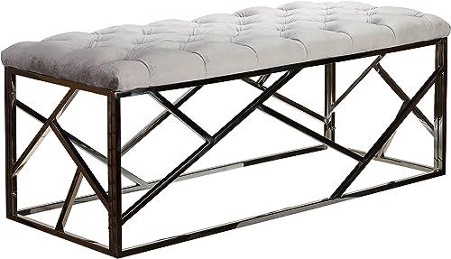 Cortesi Home Kora Long Contemporary Metal Bench Ottoman