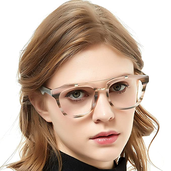 7b4d0d8a00b8 OCCI CHIARI Womens Aviator Fashion Non-prescription Eyeglasses Frame 52mm  (Incarnadine)