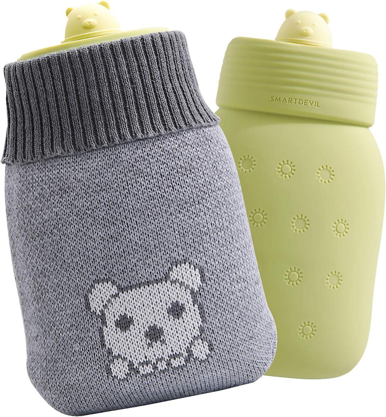 SmartDevil Botella de agua caliente, Mini botella de agua caliente para microondas con forro de punto de oso, botellas de agua caliente de primera calidad adecuadas para hombres, Mujeres y niños-Verde
