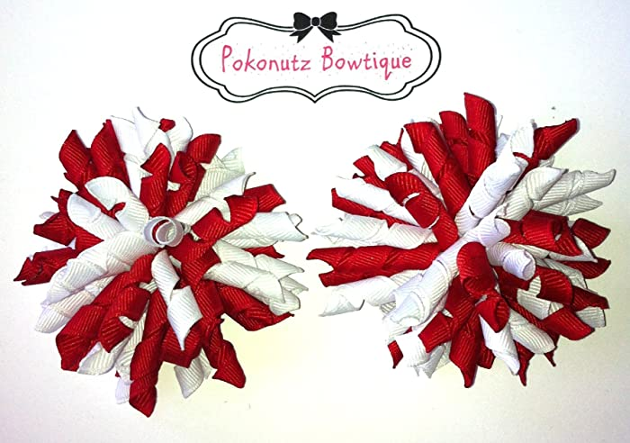 40005e4cdd90 Image Unavailable. Image not available for. Color  Red and White Korker Hair  Bow Set ...