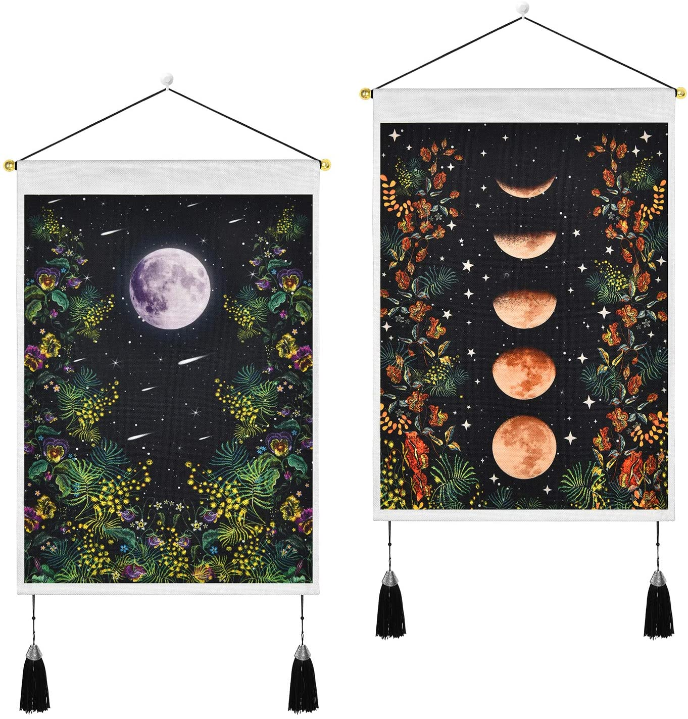 Pack of 2 Tapestry Moonlit Garden Tapestry Vine Flowers Tapestries Black Background Floral Tapestry Wall Hanging for Room (13.8 x 19.7 inches)