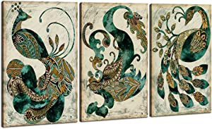 Home Art - Abstract Art Peacock Modern Art Giclee Canvas Prints Framed Canvas Wall Art for Home Decor Perfect 3 Panels Wall Decorations Abstract Paintings for Living Room Bedroom Dining Room Bathroom