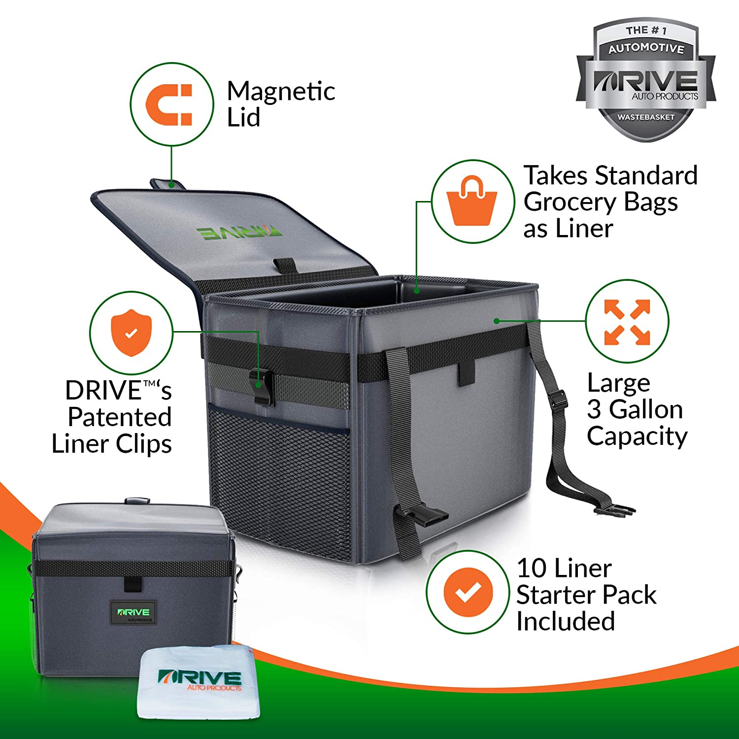 Recycle Auto Garbage Kit is Waterproof Takes Grocery Bag Size Disposable Liners 10-Piece Starter Pack Included Best Large Car Trash Can for Litter Makes a Great Cooler /& Gift The DRIVE Bin XL