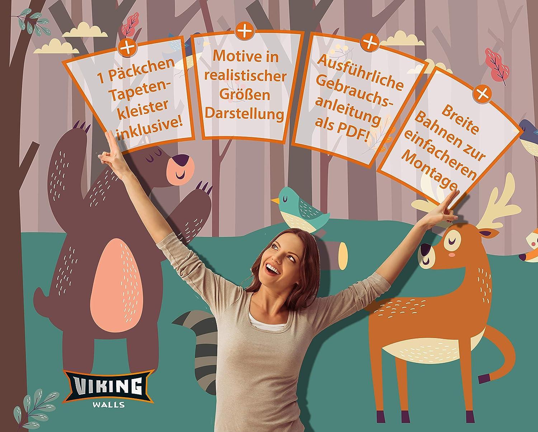 Kinder-Poster Vliestapete mit Illustrierter Weltkarte 312x219 cm Kinderweltkarte mit Tieren Landkarte f/ürs Kinderzimmer inklusive Kleister /& Anleitung deutsch