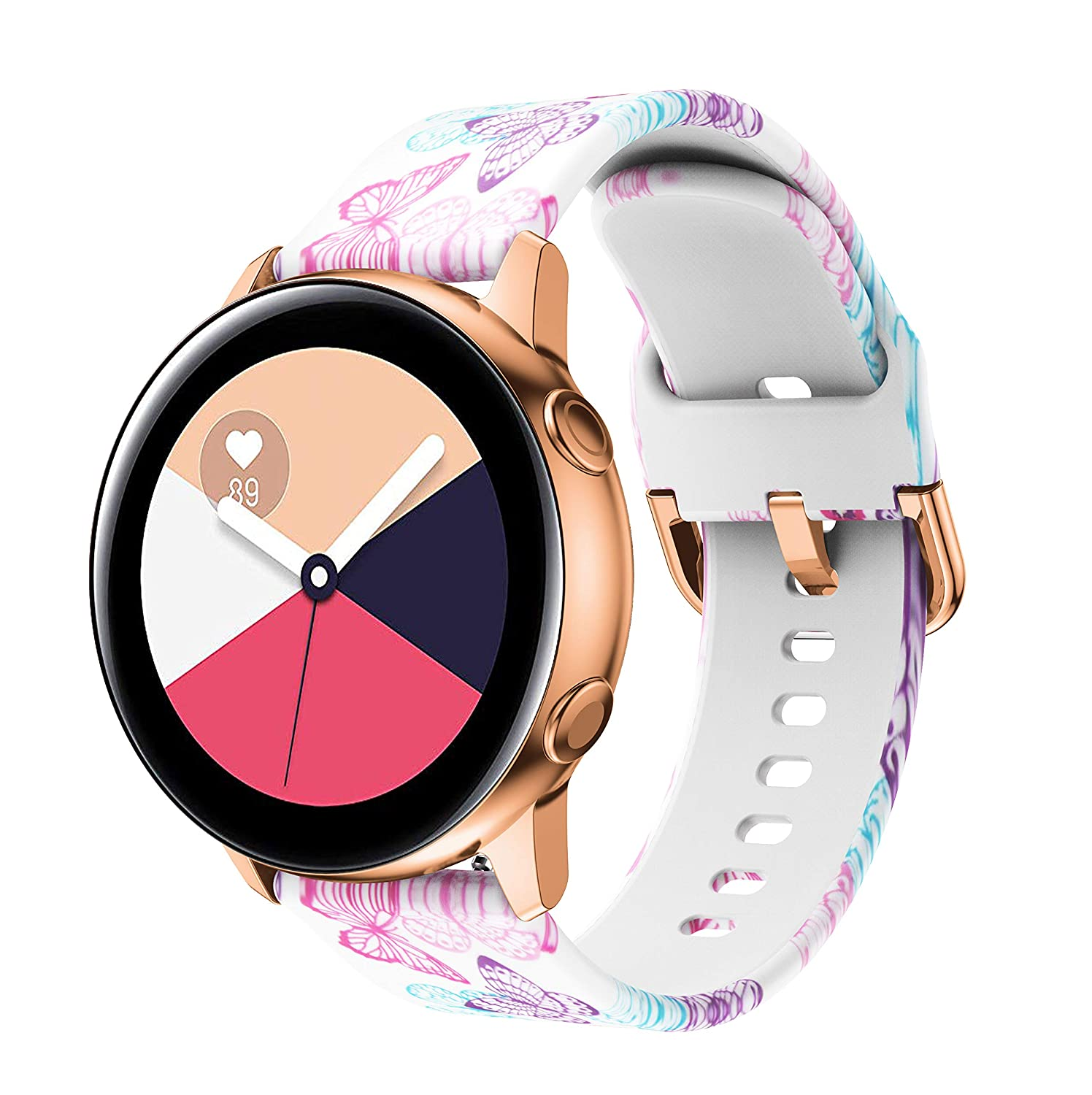 SBTSM Compatible with Samsung Galaxy Watch Active Bands/Active 2 Bands, Galaxy Watch 40mm 42mm Bands/Gear Sport Bands, 20mm Waterproof Soft Silicone ...