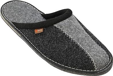 BeComfy Zapatillas de Hombre Fieltro/Goma Suela Pantuflas Zapatos Caseros Casa Fieltro Caja de Regalo 40-46: Amazon.es: Zapatos y complementos