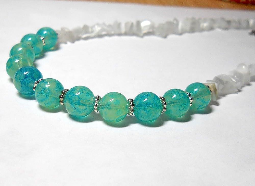 emerald Rockabilly Beads flower aquamarine Teal turquoise floral beaded hoop earrings jade cyan mint green blue Lava Volcanic Rock lucite