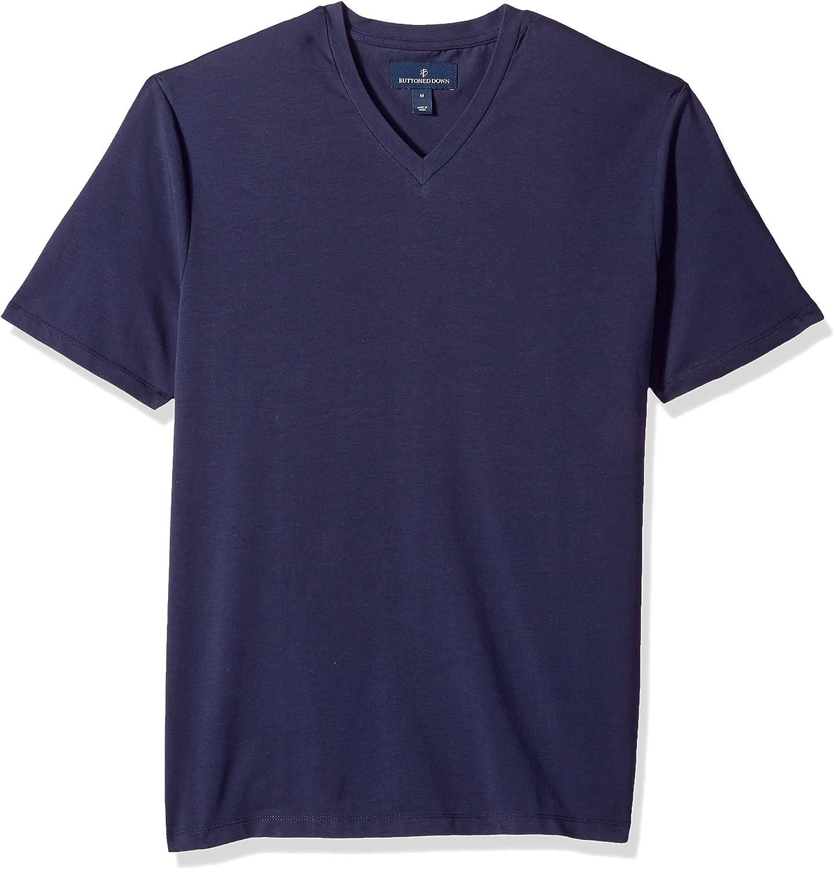 Amazon Brand - BUTTONED DOWN Men's Short-Sleeve V-Neck Supima Cotton Stretch T-Shirt