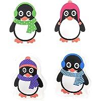 MC-Trend Lot de 4 Chauffe-Mains et Mains en Forme de Pingouins pour Mains et Doigts Chauds réutilisables