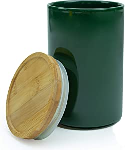 Urban Bambu Modern Ceramic Canister Bamboo Lid Storage Containers - Dishwasher-Safe Bathroom & Kitchen Jars for Storage - Airtight Ceramic Coffee Canister for Tea, Sugar & Food - Green, 28 oz