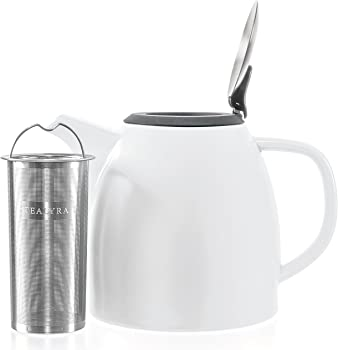 Tealyra - Drago Large White 37oz Ceramic Teapot