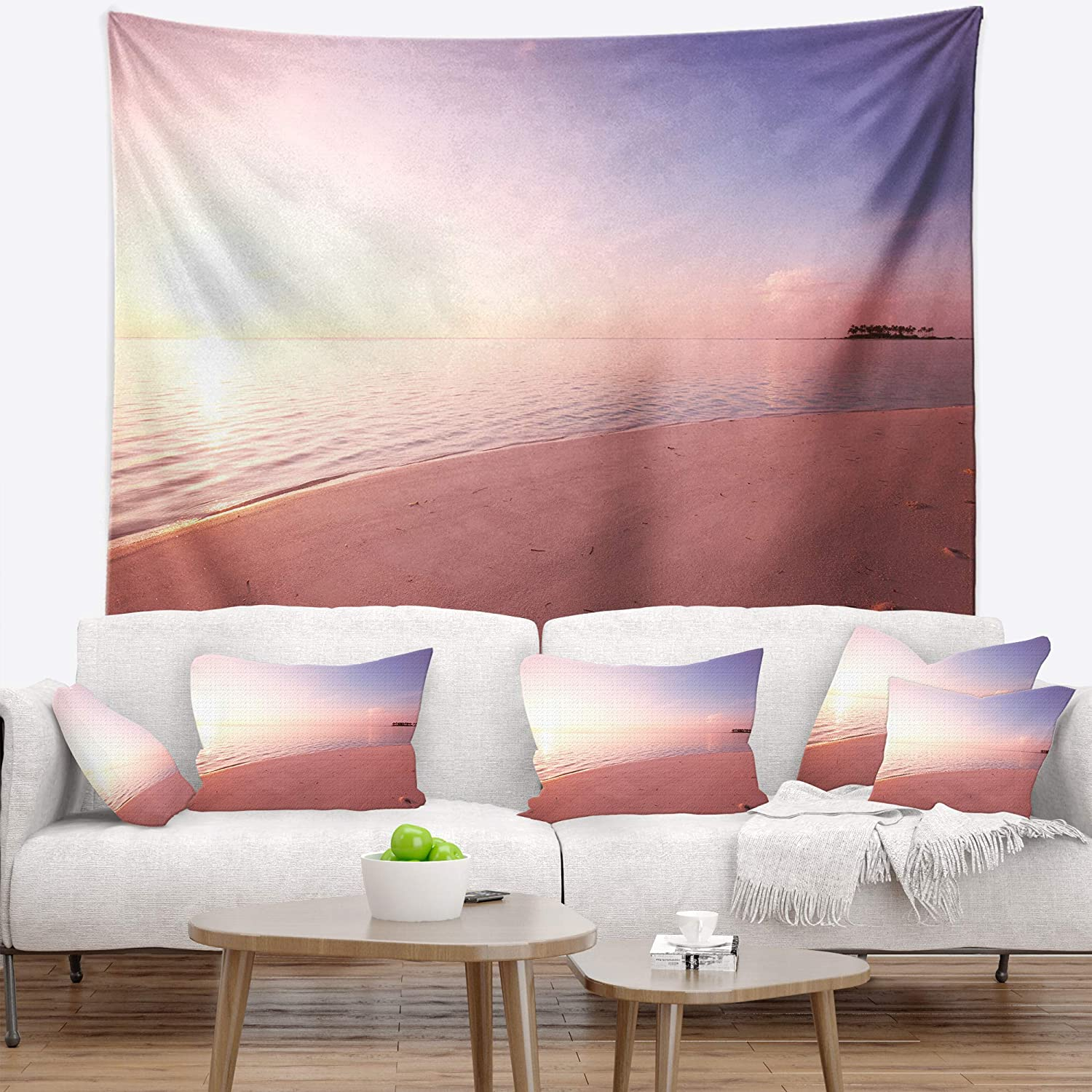 80 in Designart TAP12829-80-68  Serene Maldives Seashore at Sunset Landscape Blanket D/écor Art for Home and Office Wall Tapestry x Large x 68 in Created On Lightweight Polyester Fabric