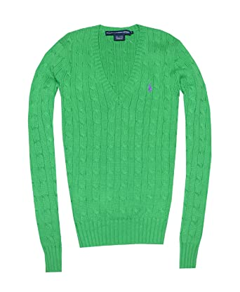 6c7bae183 Ralph Lauren Sport Women Pony Logo Cable Knit V-neck Sweater (L ...