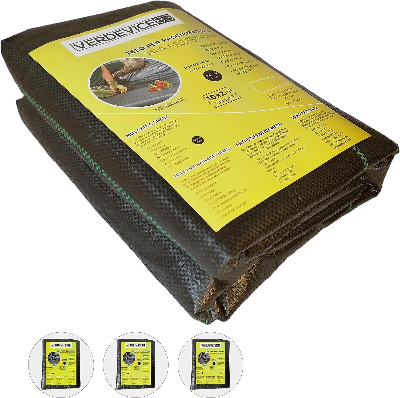 VERDEVICE83 Tela Antimalezas 10 x 2 m, Transpirable, Elimina Las Malas Hierbas, Color Negro, Resistente, Estabilizada A Los Rayos UV, Para Mantillo, Huerto o Jardín