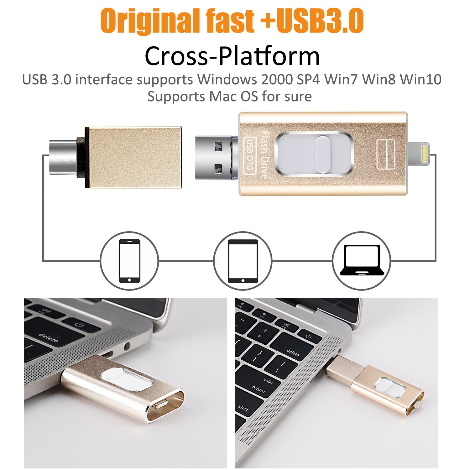 3 in 1 USB Flash Drives for iPhone and iPad 32GB,FAJUNYU iOS Flash Drive Memory Stick Expansion for iPhone,iPad,MacBook,Android,PC and More Devices with USB Port Gold