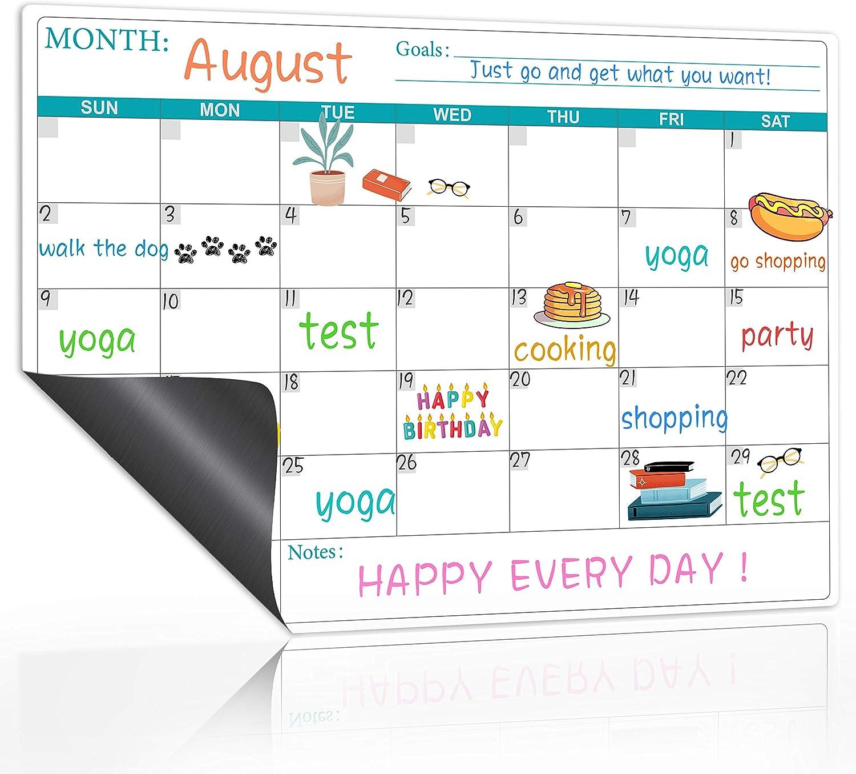 "Magnetic Dry Erase Fridge Calendar - Magnetic Calendar for Refrigerator Planners, Fridge Magnetic Calendar with Notes, Kitchen Fridge Calendar White Board in Monthly & Weekly Set, 11.8"" x 17"""