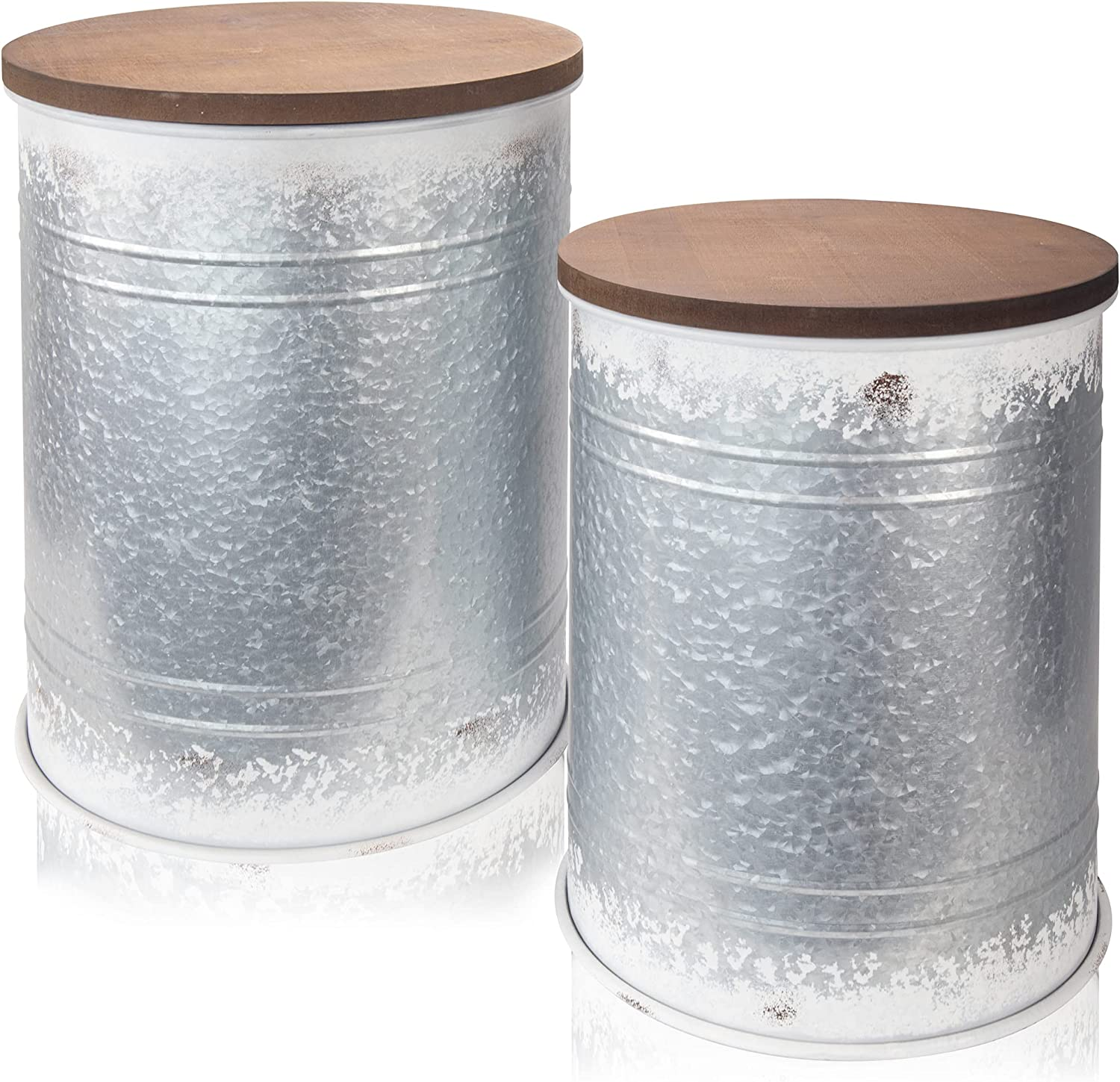 Farmhouse Storage End Table Set of 2 - Galvanized Metal Side Tables with Rustic Wooden Lid - Beautiful Barrel Style Blanket Storage to Enhance Your Home Decor and Outdoor Porch Furniture