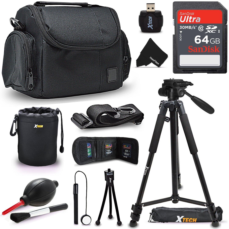 Xtech 64GB Memory Card Kit + Premium Camera Case + Pro Series 72' inch Tripod f/ Nikon Coolpix A900, B500, B700, L340, L840, L830, W300, W100, P900, P610, AW130, AW120, S9900 (64GB Accessories Kit)