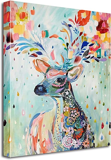 Amazon Com Avena Deer Canvas Deer Paintings Wall Art Printings Colorful Modern Wall Decor Decoration Gallery Giclee Printing With Hanging String 23 5x31 5in 60x80cm Everything Else