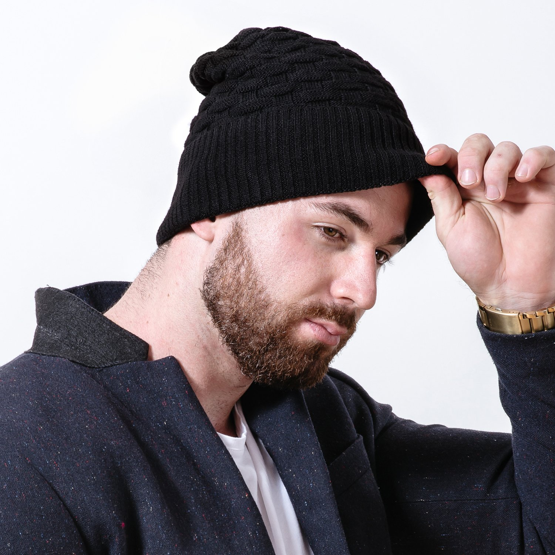 1ff76b923 FAMY Mens Winter Knitting Wool Warm Hat Daily Slouchy hats (black ...