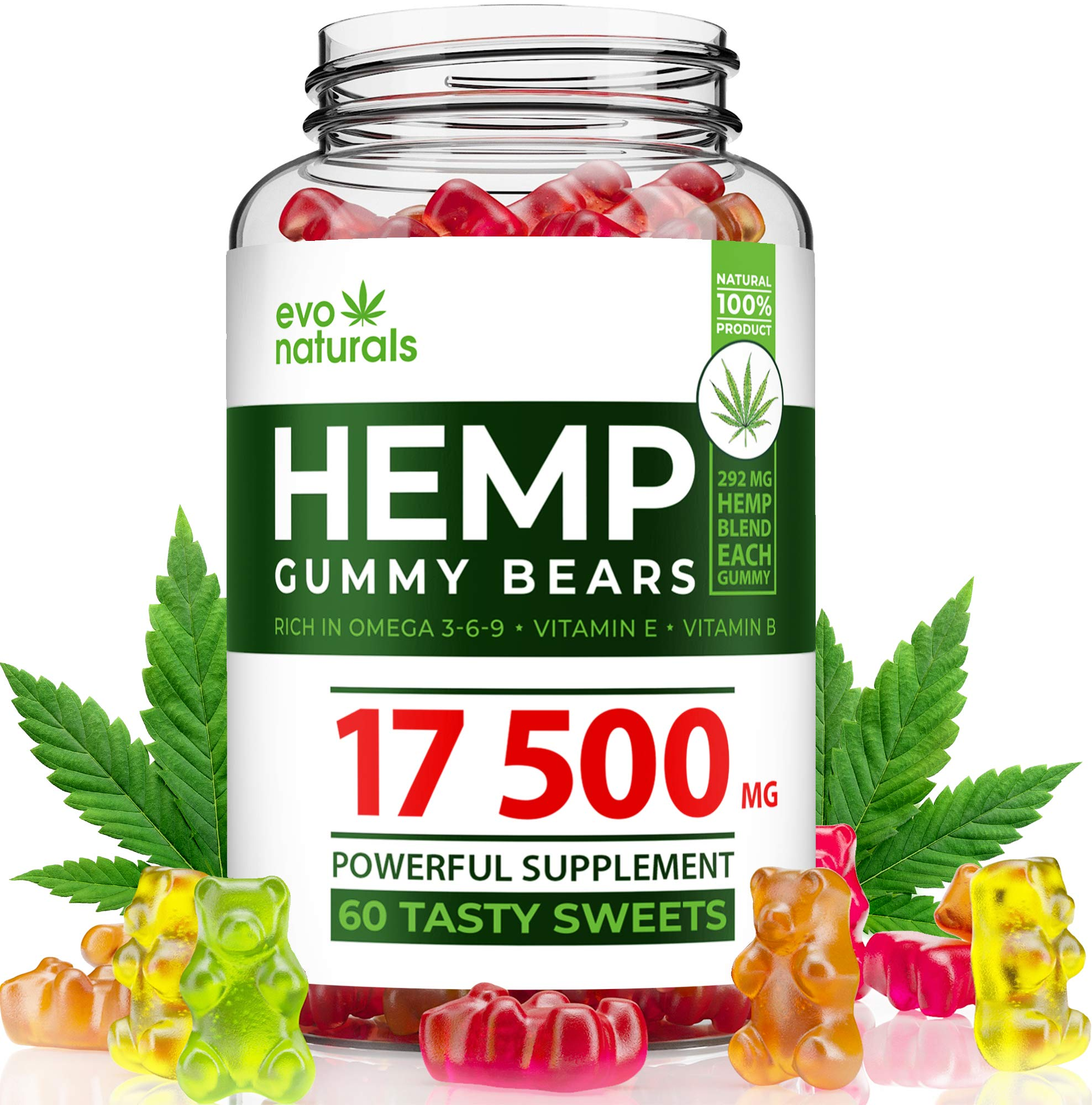 Evo Naturals Hemp Gummies - 17500 MG Blend - 292 MG per Serving - Relaxing Oil Gummies - Stress & Anxiety Relief - Effective Mood Support - with Omega 3,6,9 & Vitamin E, B - Made in USA by EvoNaturals Inc.