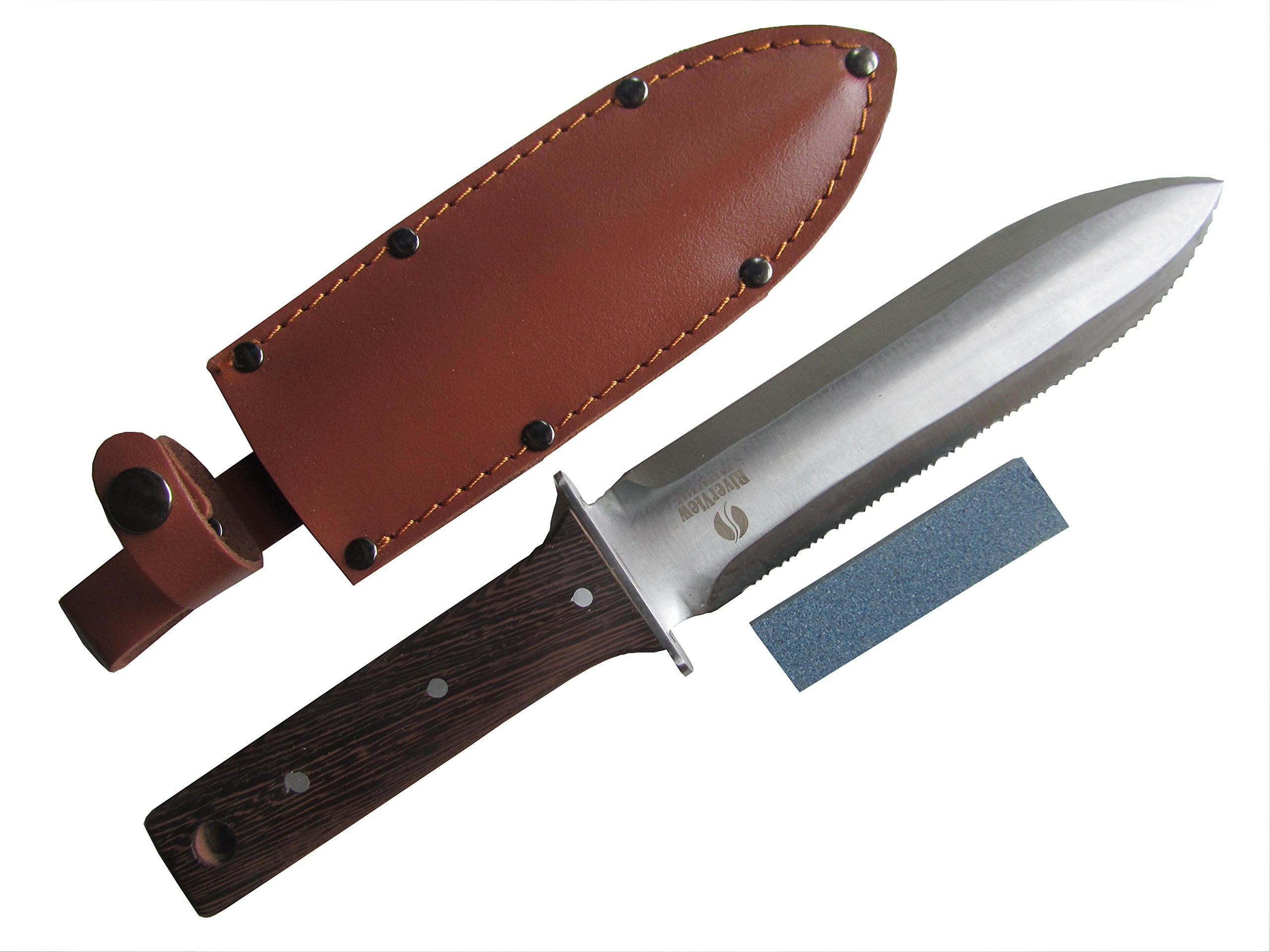 Hori Hori Multipurpose Japanese Garden and Camping Knife/Tool – (A Gardeners Dream) Thick Sharp Stainless Steel Blade - Heavy Riveted Leather Sheath - Whetstone Sharpening Stone