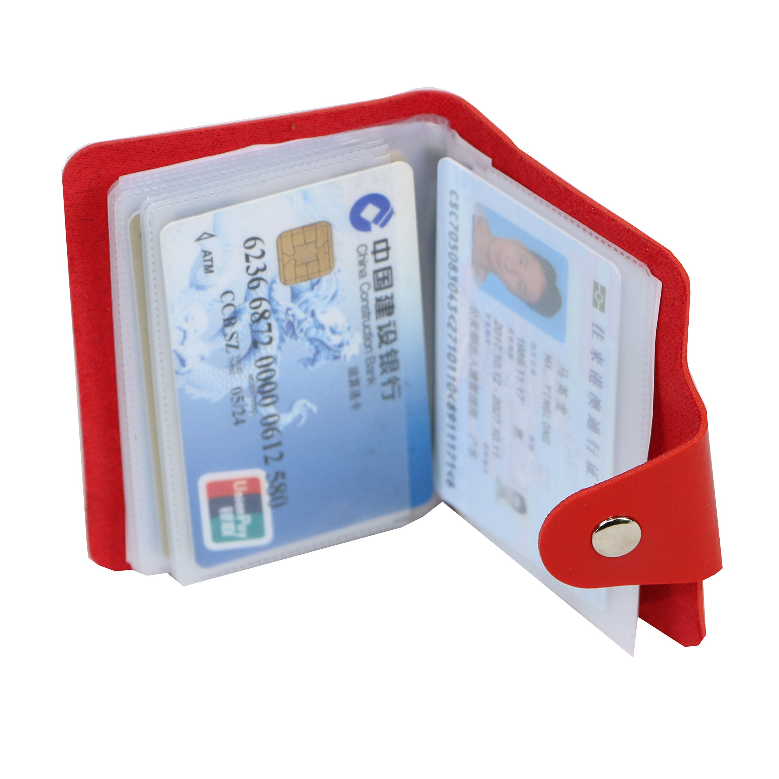 Unisex Small Leather Credit Card Holder Protector Wallet Bagwith - 12 Card Slots (red)