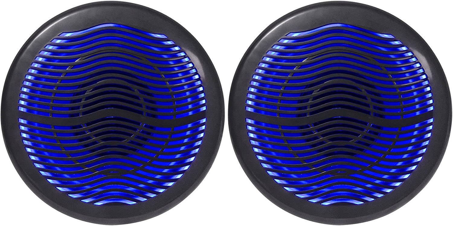 "(2) Rockville MS10LB 10"" 2400 Watt Black Marine Boat 10"" Free Air Subwoofers w/LEDs"
