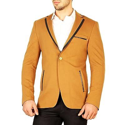 Armina Exclusive Men's Stitched Contrast Lapel Cotton Jacket at Men's Clothing store