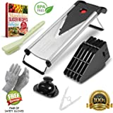 Mandoline Slicer - Vegetable Slicer - Food Slicer - Julienne Multi Slicer. Stainless Steel Includes 6 Different Blades, Cut Resistant Gloves, 12 Piece Set - 2 Year Warranty - by KitchyChef