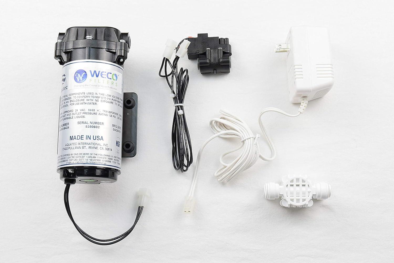 WECO Reverse Osmosis Pressure Booster Pump Kit with Transformer, Pressure Switch & Auto Shutoff Valve (100 GPD KIT)
