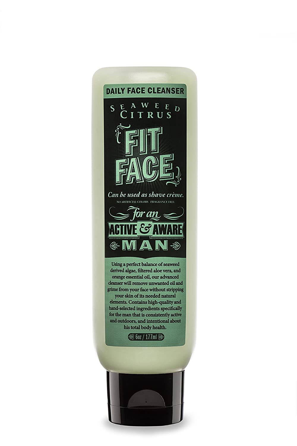 FIT FACE Seaweed Citrus Daily Face Cleanser | Non-Foaming Daily Wash for Men with Anti-Aging and Moisturizing Effects | Won't Dry or Damage Your Face | Natural Ingredients | For all Skin Types | 6 oz