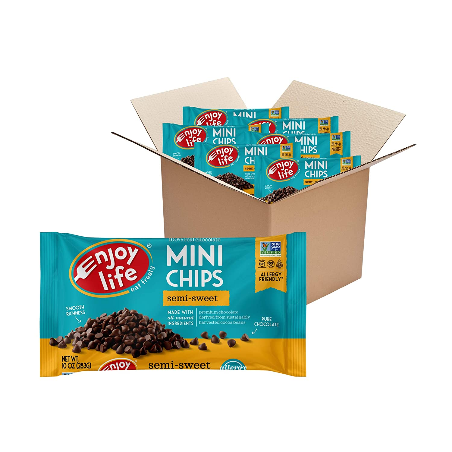 Enjoy Life Baking Chocolate Semi-Sweet Mini Chips, Dairy Free Chocolate Chips, Soy Free, Nut Free, Non GMO, Gluten Free, Vegan Chocolate Chips, 6 Bags