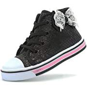 Canvas Sneakers Shoes for Toddler Girls Infant Baby Strap Soft Comfortable Easy Walk (2 M US INF, Black-3)