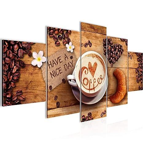 Bilder Küche Kaffee Wandbild 150 x 75 cm Vlies - Leinwand Bild XXL Format  Wandbilder Wohnzimmer Wohnung Deko Kunstdrucke Braun 5 Teilig - MADE IN ...