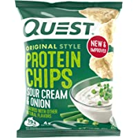 Quest Nutrition Sour Cream & Onion Protein Chips, Low Carb, Gluten Free, Potato Free, Baked, (8 Count of 1.1 oz Bags) 9…