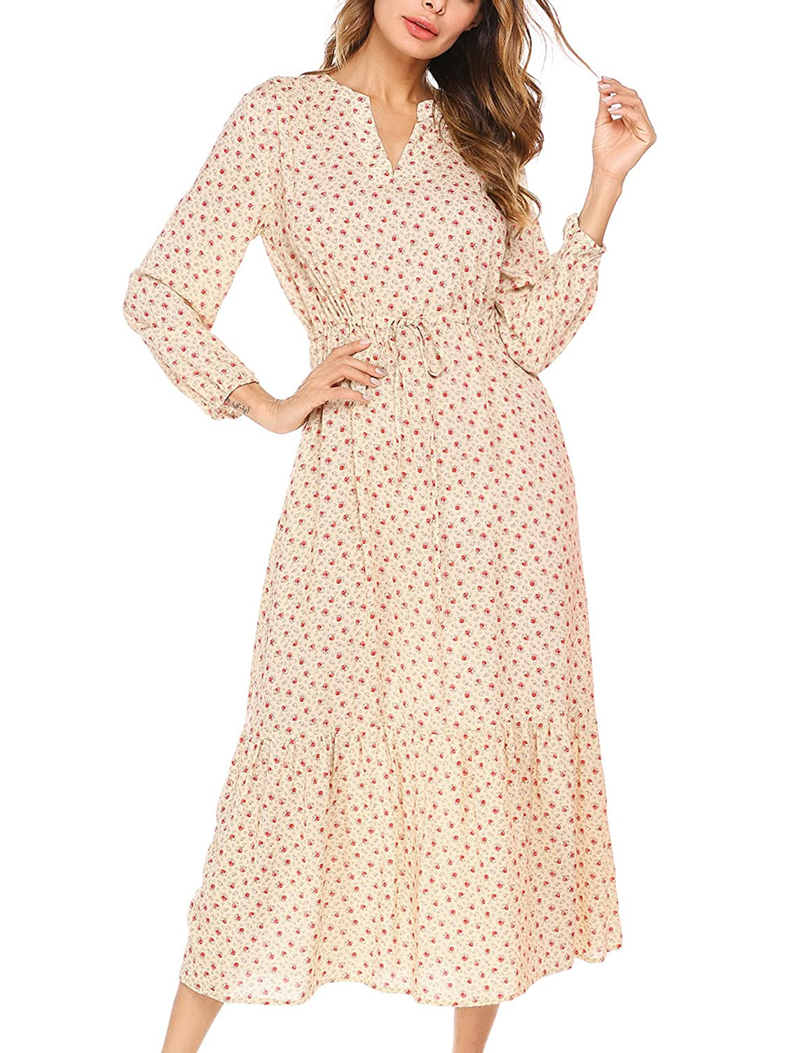 Easy DIY Edwardian Titanic Costumes 1910-1915 BEAUTYTALK Womens Long Sleeve Spring Floral Casual Chiffon Gown Boho Long Maxi Dress with Pocket $37.29 AT vintagedancer.com