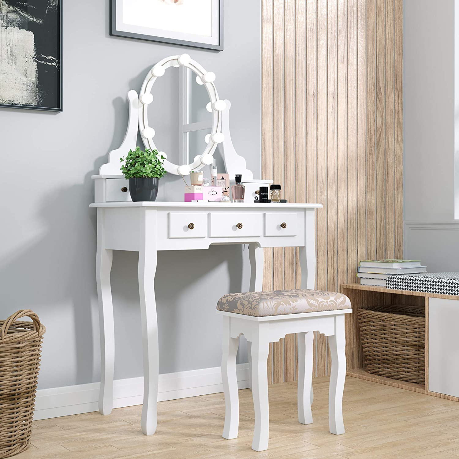 JAXPETY 5-Drawers Classic Vanity Table Set w/Oval Mirror and Cushioned Stool, Wooden Makeup Dressing Table with Adjustable Color Lights Kit Bedroom, White