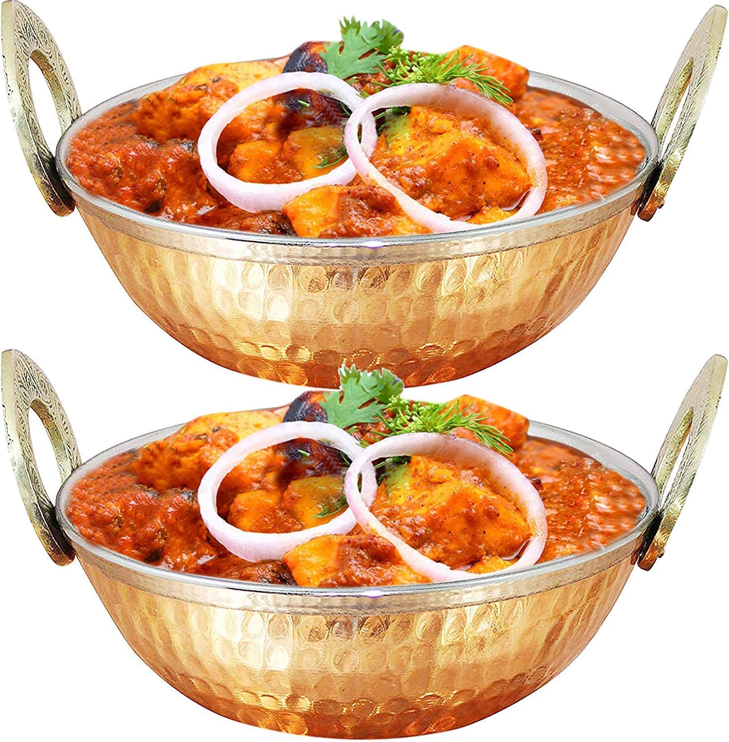 IndiaBigShop Pure Copper, Stainless Steel Bowls with Solid Brass Handle Serveware Accessories Karahi Pan for Indian Food - Set of 4