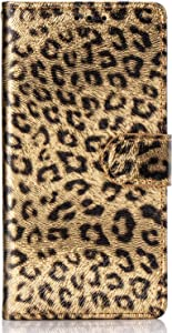 iPhone 7 Plus case,iPhone 8 Plus Phone case,with PU Leather Luxury Leopard Pattern Wallet Flip Case Card Slots with Magnetic Closure Wallet Case for iPhone 7 Plus iPhone 8 Plus (Gold)