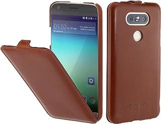 StilGut UltraSlim, Housse LG G5 en Cuir. Etui de Protection à Ouverture Verticale et à Fermeture clipsée en Cuir véritable, Cognac