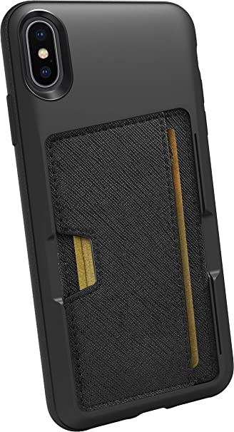 fb7376a95aa0 Smartish iPhone Xs Max Wallet Case - Wallet Slayer Vol. 2 [Slim Protective  Kickstand] Credit Card Holder for Apple iPhone 10S Max (Silk) - Black Tie  ...