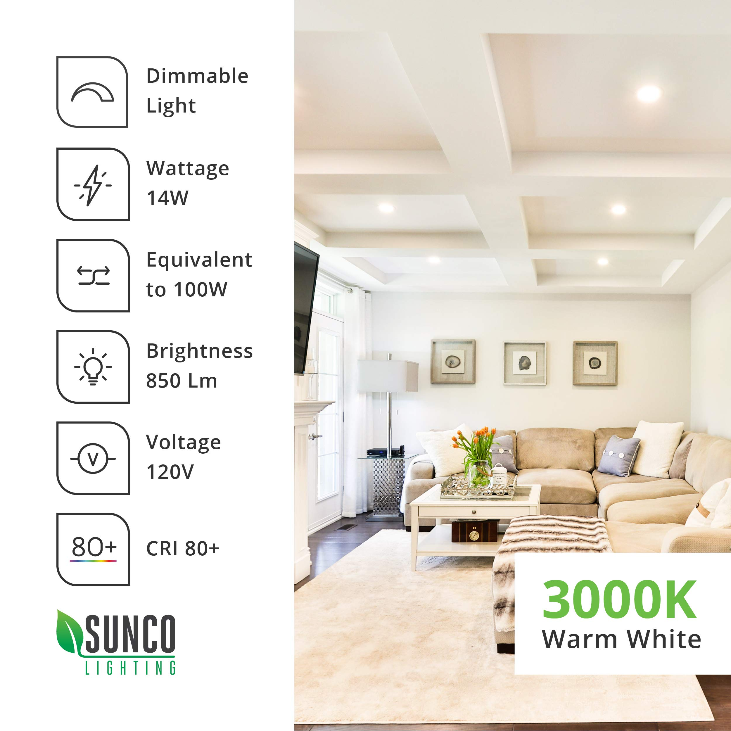 Sunco Lighting 6 Pack 6 Inch Slim LED Downlight with Junction Box, 14W=100W, 850 LM, Dimmable, 3000K Warm White, Recessed Jbox Fixture, Simple Retrofit Installation - ETL & Energy Star by Sunco Lighting (Image #9)