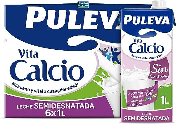 Puleva Calcio Leche Sin Lactosa Semidesnatada - Pack 6x1Lt