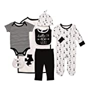 Baby Starters 9-Piece Hello I'm New Here Layette Set Black/White 0-3 Months for Sleep & Play with Bodysuit, Pants, More
