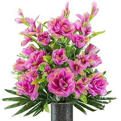 Amazon Fuchsia Gladiolus And Rose Mix Artificial Bouquet