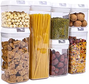 Varbucamp Airtight Food Storage Container Set, 7 Pieces Kitchen Pantry Organization Containers with Lids - BPA Free - Leak Proof &Dry Food Plastic Containers with Labels