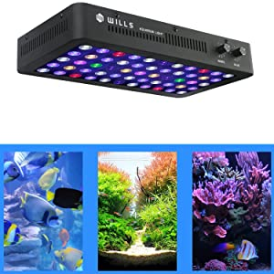 WILLS Newest 165W LED Aquarium Light Full Spectrum Dimmable Lighting Lamp for Coral Reef Fish Tank Freshwater & Saltwater