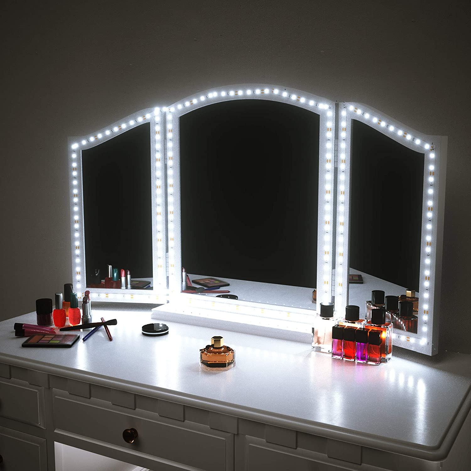 Amazon Com Led Vanity Mirror Lights For Makeup Dressing Table Vanity Set 13ft Flexible Led Light Strip Kit 6000k Daylight White With Dimmer And Power Supply Diy Mirror Mirror Not Included Home Improvement